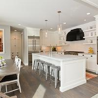 Refined LLC - kitchens - gray, walls, gray, orange, striped, runner, rug, farmhouse, sink, kitchen island, white, kitchen cabinets, marble, countertops, white, chunky, floating shelves, flanking, glossy, black, range, hood, double ovens, Tolix Stool, Restoration Hardware Concrete Rectangular Dining Table, Juliska Column Pendant,