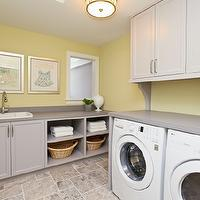 Refined LLC - laundry/mud rooms - yellow, walls, gray, utility, cabinets, gray, countertops, white, front-load, washer, dryer, yellow and gray rooms, gray and yellow rooms, yellow and gray laundry rooms, gray and yellow laundry rooms,