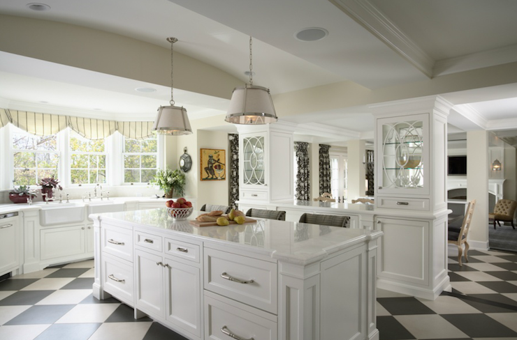 RLH Studio - kitchens - Benjamin Moore - Cloud White - Vaughn Nickel Hanging Pendant, white, black, diamond, patten, porcelain, tiles, floor, creamy, white, kitchen cabinets, Mystery White, marble, countertops, twin, side-by-side, farmhouse, sinks,