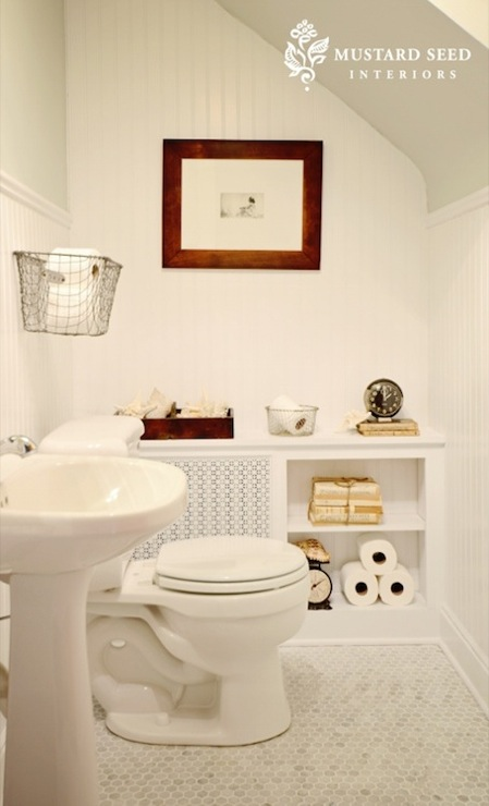 Sloped ceiling cottage bathroom benjamin moore gray - Mustard seed interiors ...