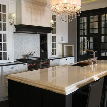 Airoom - kitchens - tray ceiling, black, mirrored, cabinets, black, kitchen island, beveled, marble, countertop, sink in kitchen island, white, kitchen cabinets, glossy, black, countertops, black leather, stools, crystal chandelier, tray ceiling kitchen, kitchen tray ceiling,