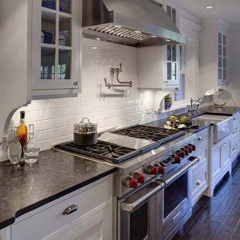 Airoom - kitchens - pot filler, subway tiles, backsplash, white, glass-front, kitchen cabinets, farmhouse sink, Antique Brown Suede Granite, Antique Brown Suede Granite countertops, marron cohiba granite, marron cohiba granite countertops, Marron Cohiba  (Antique Brown Suede) Countertop,