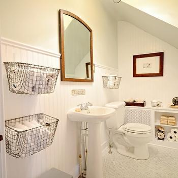 Mustard Seed Interiors - bathrooms - chair rail, beadboard, backsplash, marble, hexagon, tiles, floor, vintage, wire, baskets, glossy, white, pedestal, sink, white, lattice, radiator, cover, beadboard backsplash, beadboard bathroom, bathroom beadboard, white beadboard, white beadboard backsplash,