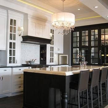 Airoom - kitchens - tray ceiling, black, mirrored, cabinet, black, kitchen island, black, turned, legs, beveled, marble, countertop, black, leather, modern, counter stools, white, kitchen cabinets, glossy, black, countertop, crystal chandelier, black kitchen island, Black and white kitchen,