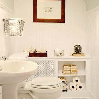 Mustard Seed Interiors - bathrooms - glossy, white, pedestal, sink, marble, hexagon, tiles, floor, beadboard, backsplash, gray, walls, white, radiator, cover, vintage, wire, baskets, sloped ceiling, sloped bathroom ceiling,