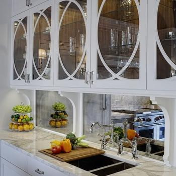 Airoom - kitchens: white, kitchen cabinets, marble, countertops, polished nickel, bridge, faucet, antique, mirrored, backsplash, mirror backsplash, mirrored backsplash, kitchen mirror backsplash, kitchen mirrored backsplash, mirrored kitchen backsplash,