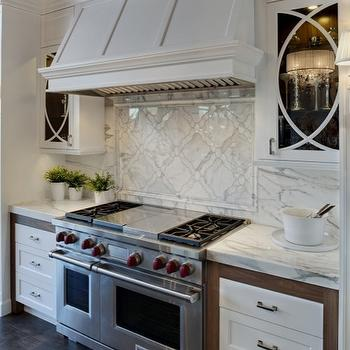 Airoom - kitchens - white, kitchen cabinets, marble, countertops, calcutta, gold, marble, slab, backsplash, inset, tiles, chair rail, border, ann sacks tiles, ann sacks kitchen tiles, ann sacks kitchen backsplash, ann sacks backsplash, Ann Sacks Beau Monde Grace Tiles,