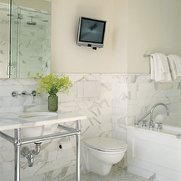 Paul Rice Architecture - bathrooms - polished nickel, wall-mount, faucet, marble, 2 leg, washstand, marble, mosaic, stagger, floor, tiles, calcutta, gold, marble, tiles, backsplash, TV, buttery, yellow, walls,