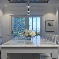 Airoom - kitchens - glass, pendants, white, kitchen island, marble, countertop, turned legs, French doors, white, counter stools, Tine Tiles,