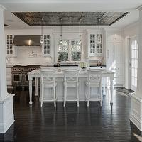Airoom - kitchens - creamy, white, glass-front, kitchen cabinets, white, kitchen island, turned legs, marble, countertop, white, counter stools, hand scraped, wood floors, tin ceiling, tin kitchen ceiling, kitchen tin ceiling, tin ceiling kitchen, Tine Tiles,