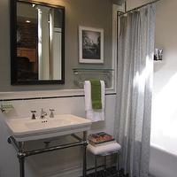 bathrooms - gray shower curtain, shower curtain, Restoration Hardware Park Rounded Metal Console Sink, Restoration Hardware Newbury Bath Stool,