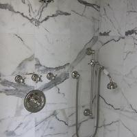 Rachel Hazelton Interior Design - bathrooms - marble, tiles, shower surround, polished nickel, shower kit, calcutta marble, calcutta marble shower, calcutta marble shower surround, calcutta marble tile shower, calcutta marble tile bathroom,