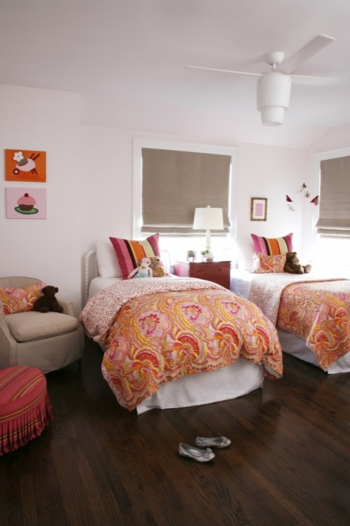 CCG Interiors - girl's rooms - Benjamin Moore - Pink Bliss - Modern Fan Company Halo Ceiling Fan, pale, pink, walls, vintage, white, twin, Jenny Lind, beds, orange, pink, paisley, duvets, multi-color, striped, pillows, round, red, skirted, ottoman, gray, linen, roman shades, gray, linen, slipcover, chair, light pink walls, light pink paint, light pink paint color, light pink girls bedroom, light pink girls room,