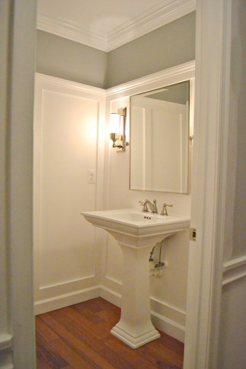 Beadboard powder room design ideas pictures remodel and decor - Grey Paint Color Transitional Bathroom Ralph Lauren
