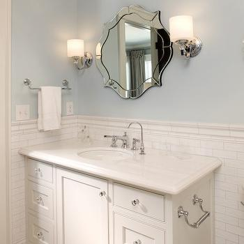 Stonewood LLC - bathrooms - sconces, flanking, mirror, baby blue, walls, pencil rail, subway tiles, backsplash, white, extra-wide, single, bathroom vanity, marble, countertop, vintage, hex, tiles, vanity toilet paper holder, toilet paper holder on vanity,