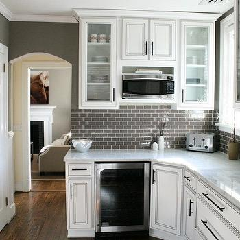 Kenneth Byrd Design - kitchens - gray, glass, subway tiles, backsplash, white, glass-front, kitchen cabinets, marble, countertops, warm, gray, walls, wine, fridge, gray subway tile, gray subway tile backsplash,