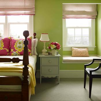 Katie Ridder - girl's rooms - pillow, wood, canopy, bed, yellow, blanket, fuchsia, yellow, floral, pillows, white, hotel bedding, hot pink, stitching, apple green walls, pink, dots, roman shades, blue, gray, painted, nightstand, built-in, window seat, white, pink, ticking, cushion, girls window seat, girls room window seat, built in window seat, girls built in window seat, Quadrille China Seas Aga Watermelon on Tint,