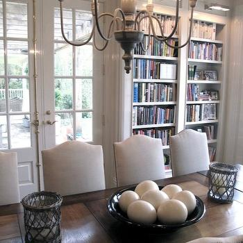 Jane Green - dens/libraries/offices - gray, chandelier, French doors, glossy, white, moldings, salvaged, wood, dining table, built-in, bookshelves, picture, lights, library dining room, dining room library, , Restoration Hardware Empire Camelback Upholstered Side Chair,