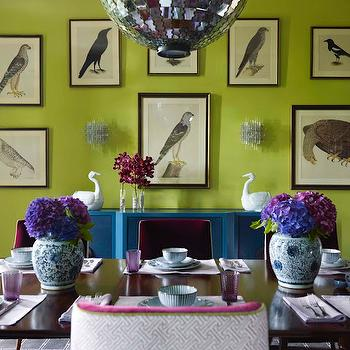 Katie Ridder - dining rooms - lime, green, walls, avian, art gallery, teal, blue, buffet, mirrored, tiles, disco, ball, pendant, light, eggplant, velvet, dining chairs, purple, hydrangeas, turquoise cabinet, turquoise blue cabinet, turquoise buffet cabinet, turquoise blue buffet cabinet, Quadrille China Seas Aga Purple on Tint,