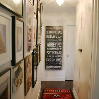 Amber Interiors - entrances/foyers - vintage, subway sign, art gallery, kilim runner, hall runner,  Chic, eclectic foyer design with vintage