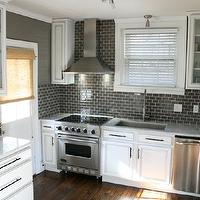 Kenneth Byrd Design - kitchens - warm, gray, walls, gray, glass, subway tiles, backsplash, white, kitchen cabinets, marble, countertops, bamboo, roman shades, charcoal gray subway tile, charcoal gray subway tile backsplash, charcoal gray subway tiled kitchen,