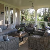 Jane Green - decks/patios - outdoor, furniture, gray, lilac, cushions, caged, glass, pendant,  Figless Manor - Super deck/patio space with outdoor