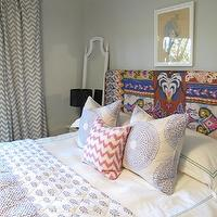 Amber Interiors - bedrooms - gray, walls, white, teal, blue, chevron, fabric, drapes, ethnic, blanket, covered, headboard, glossy, black, gourd, lamp, white, mirror, white, hotel bedding, lilac, stitching, white, lilac, shams, quilt, white, fuchsia, pink, wavy, pillow, chevron drapes, chevron drapes, gray chevron curtains, gray chevron drapes, grey chevron curtains, grey chevron drapes, Chevron Fabric - Light Blue,