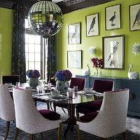 Katie Ridder - dining rooms - lime, green, walls, black, green, drapes, glossy, black, crown molding, teal, blue, buffet, avian, art gallery, mirrored, tiles, disco, ball, pendant, eggplant, velvet, dining chairs, purple, hydrangeas, Quadrille China Seas Aga Purple on Tint,