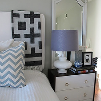 Amber Interiors - bedrooms: white, headboard, white, light blue, chevron, pattern, pillow, white, mirror, glossy, white, lamp, chevron pillow, chevron stripe pillow, blue chevron pillow, white and blue chevron pillow, ikea rast, ikea rast hack, rast hack, ikea hack,