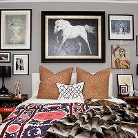 Amber Interiors - bedrooms - gray, walls, eclectic, art gallery, glossy, black, gourd, lamps, matching, wood, nightstands, white, slipcover, headboard, suzani, blanket, faux fur, throw,