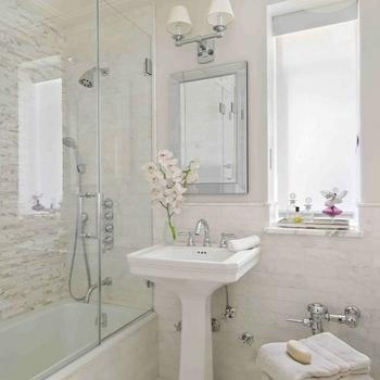 Interiors by Francesca - bathrooms - mirrored tray, glossy, white, pedestal, sink, beveled, mirror, double sconce, seamless glass shower, mosaic, stacked, linear, shower surround, mosaic, marble, inset tiles, floor, orchids, gray, walls, drop in tub doors, drop in tub shower doors, shower doors,