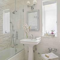 Interiors by Francesca - bathrooms - mirrored tray, glossy, white, pedestal, sink, beveled, mirror, double sconce, seamless glass shower, mosaic, stacked, linear, shower surround, mosaic, marble, inset tiles, floor, orchids, gray, walls,