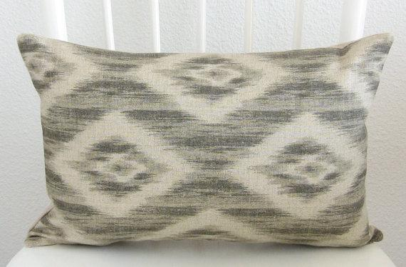 Pillows - Decorative pillow cover Lumbar pillow Ikat by chicdecorpillows - ash beige, cream, ikat, linen, pillow