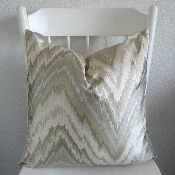 Pillows - Decorative pillow Throw pillow Ikat pillow by chicdecorpillows - cream, silver, green, flamestitch, pillow,