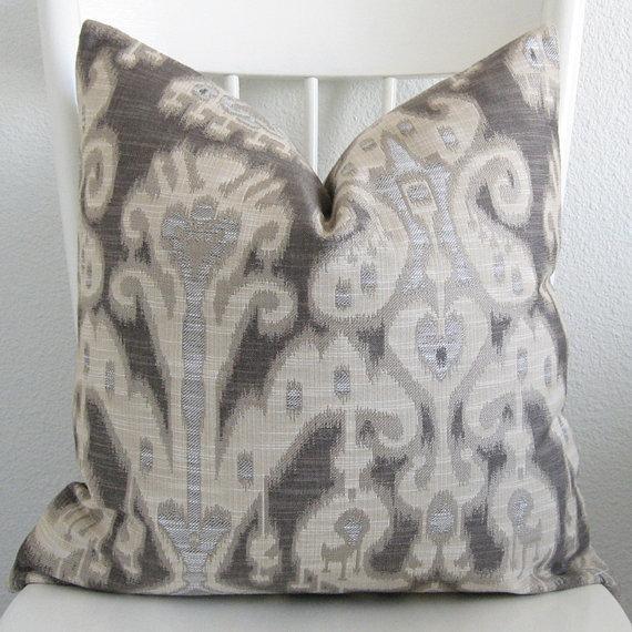 Pillows - Decorative pillow cover Throw pillow Ikat by chicdecorpillows - gray, ikat, pillow