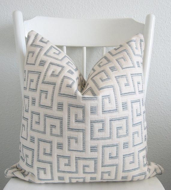 Pillows - Decorative pillow cover Throw pillow 18x18 by chicdecorpillows - white, light, blue, Greek, maize, pillow