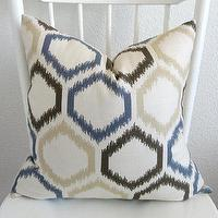 Pillows - Decorative pillow cover Throw pillow Ikat by chicdecorpillows - dwellstudio, brown, blue, beige, ikat, pillow
