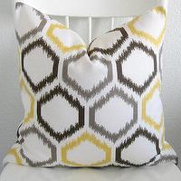 Pillows - Decorative pillow cover Throw pillow Ikat by chicdecorpillows - dwellstudio, yellow, gray, ikat, pillow