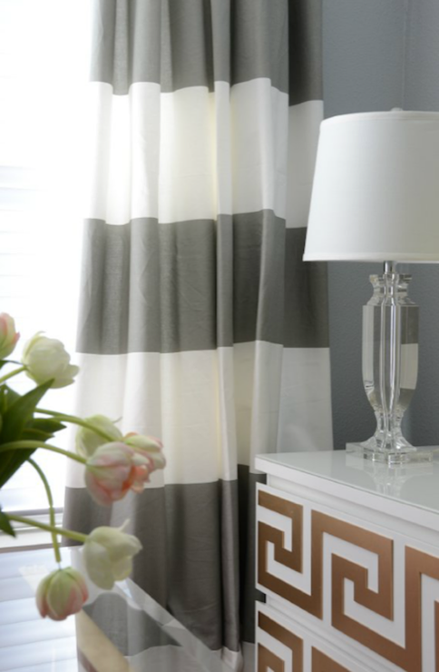 Horizontal Striped Drapes Contemporary Den Library Office Amanda Carol Interiors