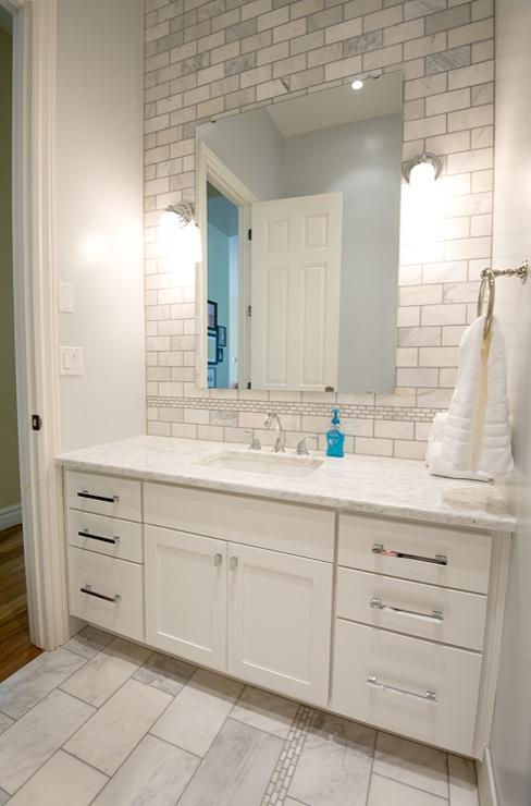 Bathroom Remodel With Extra Wide Single White Bathroom Vanity
