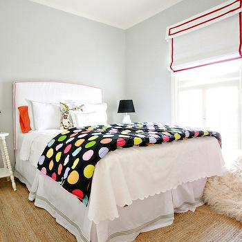 AB Chao - girl's rooms - gray, walls, white, roman shades, red, trim, white, headboard, red, piping, white, scallop, hotel bedding, green, stitching, coral, pillows, multi-color, dots, blanket, white, spindle, legs, tables, nightstands, white, owl, lamps, black, shades, seagrass, rug, red, Eames, chair, owl lamp, white owl lamp, White Owl Lamp,