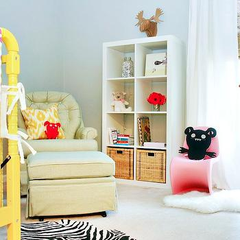 AB Chao - nurseries - yellow, jenny Lind Crib, blue, gray, walls, ivory, tufted, glider, ottoman, zebra, rug, bright, yellow, crib, pink, gray, bedding, yellow crib, yellow nursery crib, yellow jenny lind crib, Pink Panton Junior Chair, Ikea Expedit Bookcase,