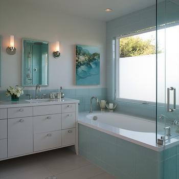 Shirley Parks Design - bathrooms - Master Bathroom, Aqua, Glass Tile, Ceramic Tile, Vanity, Shower, Bath, White, Frosted Window, turquoise glass tiles, turquoise blue glass tiles, turquoise bathroom tiles, turquoise blue bathroom tiles,