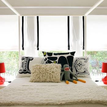 AB Chao - boy's rooms - white, roman shades, black, ribbon, trim, , ivory, shag, pillow, white, ruffled, blanket, white, Ikea, nightstands, ikea bed, ikea canopy bed, white ikea bed, Ikea Edland bed, Lush Designs LOVE Pillows, LJUSAS UVAS Table Lamp,