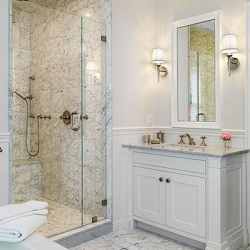 bathrooms - white, beveled, mirror, pale, gray, single, bathroom, vanity, marble, countertop, chair rail, subway tiles, backsplash, pale, gray, walls, marble, tiles, floor, marble, basketweave, inset, tiles, seamless glass shower, marble, tiles, shower surround, single, sconces, beveled mirror, white beveled mirror,