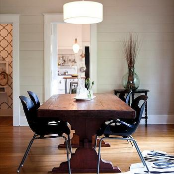 AB Chao - dining rooms - gray, groove, walls, drum, pendant, chandelier, salvaged wood, dining table, black, plastic, modern, dining chairs, zebra, cowhide, rug, salvaged wood dining table,