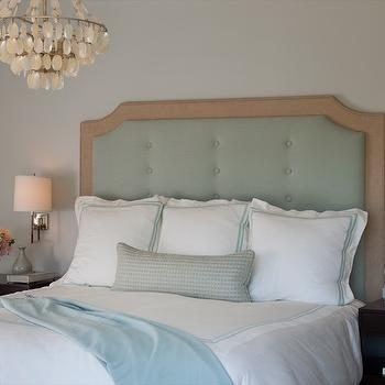 Shirley Parks Design - bedrooms - Master Bedroom, Upholstered Headboard, White, Blue/green, Shell chandelier, Nightstands, Sconces, blue headboard, tufted headboard, blue tufted headboard, upholstered headboard, blue upholstered headboard, blue velvet tufted headboard,