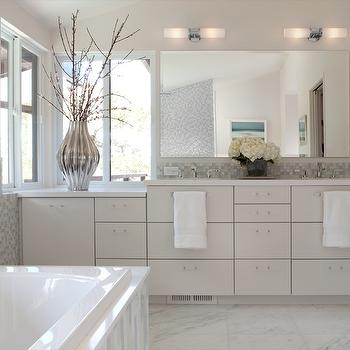 Shirley Parks Design - bathrooms - Master Bathroom, Marble, Mosaic Glass Tile, Sink, Vanity, mosaic tile backsplash, mosaic tile bathroom, mosaic tiled backsplash,