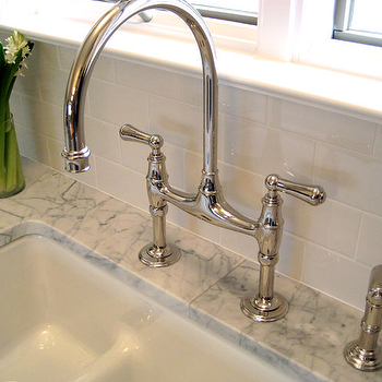 Summer Thornton Design - kitchens - subway tiles, backsplash, marble, countertop, polished nickel, bridge, faucet, gooseneck bridge faucet, bridge gooseneck faucet,
