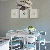 Shirley Parks Design - dining rooms - Dining Room, Kitchen, Saarinen table, Wallpaper, Chandelier, Marble, Blue, Green, Aqua, White, turquoise dining chairs, turquoise blue dining chairs,
